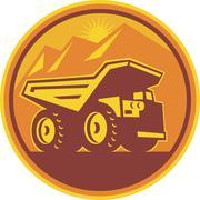 mining dump truck retro . - stock illustration