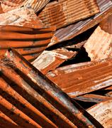 Discarded Rusty Corrugated Metal Panels Stock Photos