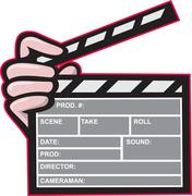 Clapboard clapperboard clapper front. Stock Illustration