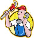 Plumber worker with adjustable wrench phone. Stock Illustration