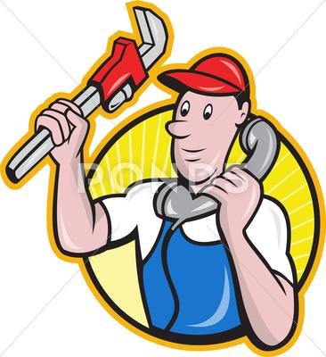 Stock Illustration of plumber worker with adjustable wrench phone.