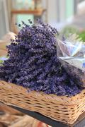 Lavender in a wicker basket Stock Photos