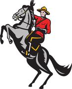 Stock Illustration of canadian mounted police mountie riding horse