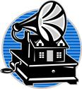 Stock Illustration of vintage gramophone with old house