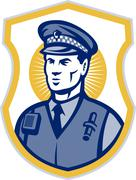 security guard policeman officer with shield - stock illustration