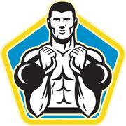 kettlebell exercise weight training retro - stock illustration