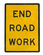 old end roadwork traffic sign - stock photo