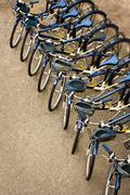 Bicycles Parked in a Row Stock Photos