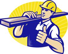 carpenter builder worker thumbs up - stock illustration
