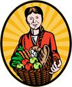 Stock Illustration of female organic farmer crop harvest basket
