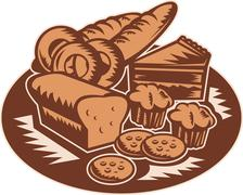 Pastry bakery bread cookies muffin Stock Illustration
