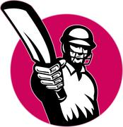 Stock Illustration of cricket player batsman pointing bat