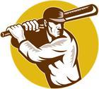 Cricket sports batsman batting side view Stock Illustration