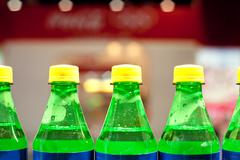a few bottles of carbonated drinks - stock photo