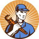 Plumber holding monkey wrench Stock Illustration
