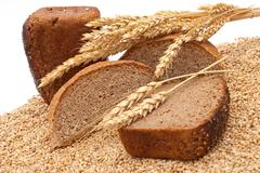 Bread with wheat and ears Stock Photos