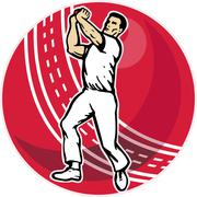 Cricket bowler bowling ball Stock Illustration