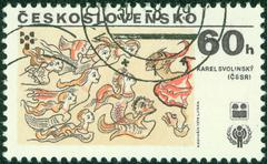 Stamp printed in Czechoslovakia shows girls and villain, circa 1979 Stock Photos