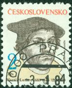 Stamp printed in Czechoslovakia, shows Martin Luther, circa 1983 Stock Photos