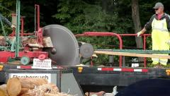 Man operating an old-fashioned pony saw mill in Waterloo, Ontario. Stock Footage