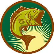 Largemouth bass fish jumping Stock Illustration