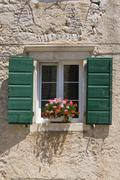 Traditional green shutters with flowers - stock photo