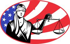lady blindfold scales of justice american flag - stock illustration