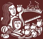 Woman and child holding apple fruit vegetable Stock Illustration