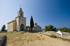 St.Nicholas church on the hill Stock Photos