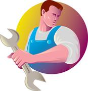 mechanic tradesman worker with spanner - stock illustration