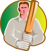 Cricket player batsman with bat front view Stock Illustration