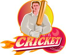 Cricket player batsman with ball and bat front view Stock Illustration