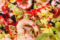 seafood salad, macro - stock photo