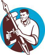 Male writer journalist pen paper shield Stock Illustration