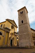 Stock Photo of old church with pillars and bell tower in rijeka, croatia