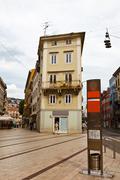 square in the downtown of rijeka in croatia - stock photo