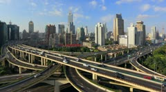 Heavy traffic on Shanghai Highway Interchange, China Stock Footage