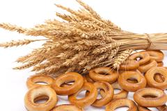 bagels with wheat ears - stock photo