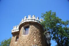 building at entrance park güell, barcelona - stock photo