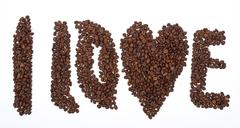 "inscription ""i love "" from coffee grains - stock photo"