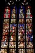 stained glass in a church in aix en provence - stock photo