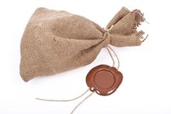 sack with sealing wax - stock photo