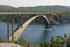 Sibenik bridge and the channel Stock Photos