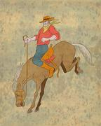 Rodeo cowboy ratsastus katkonnan hevonen bronco Piirros
