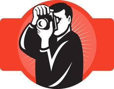 photographer aiming slr camera front - stock illustration