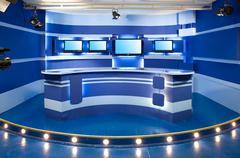 blue television studio - stock photo