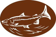 Speckled spotted trout fish retro woodcut Stock Illustration