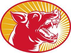 Angry wild dog wolf growling woodcut Stock Illustration