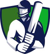 Cricket player batsman with bat shield Stock Illustration