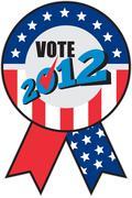 American election usa ribbon tick 2012 Stock Illustration